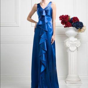 NWT - S Gorgeous Royal Blue Satin Ruffle Dress